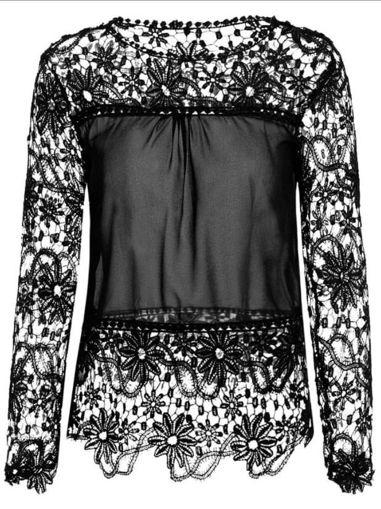 Imagen de Blusa de túnica con encaje.