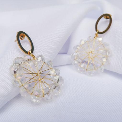 Imagen de Argollas doradas con cristales