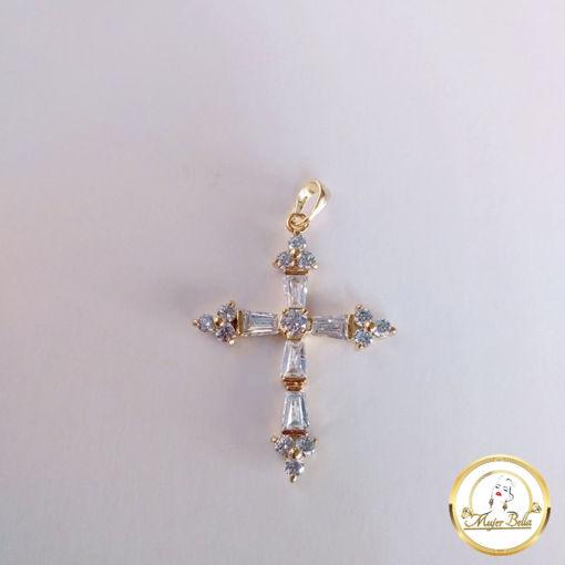 Imagen de Dije de cruz con piedras blancas