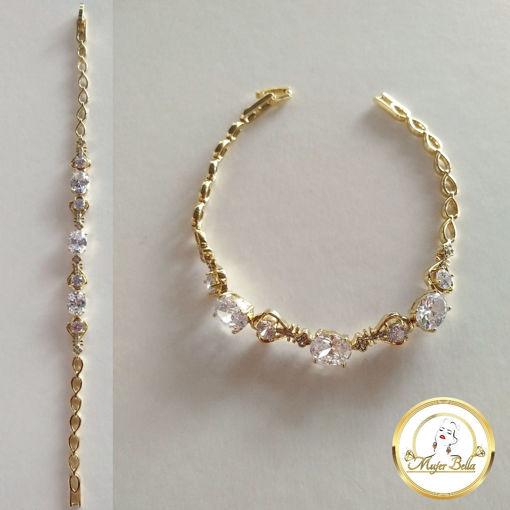 Imagen de Pulsera de piedras blancas de cristal