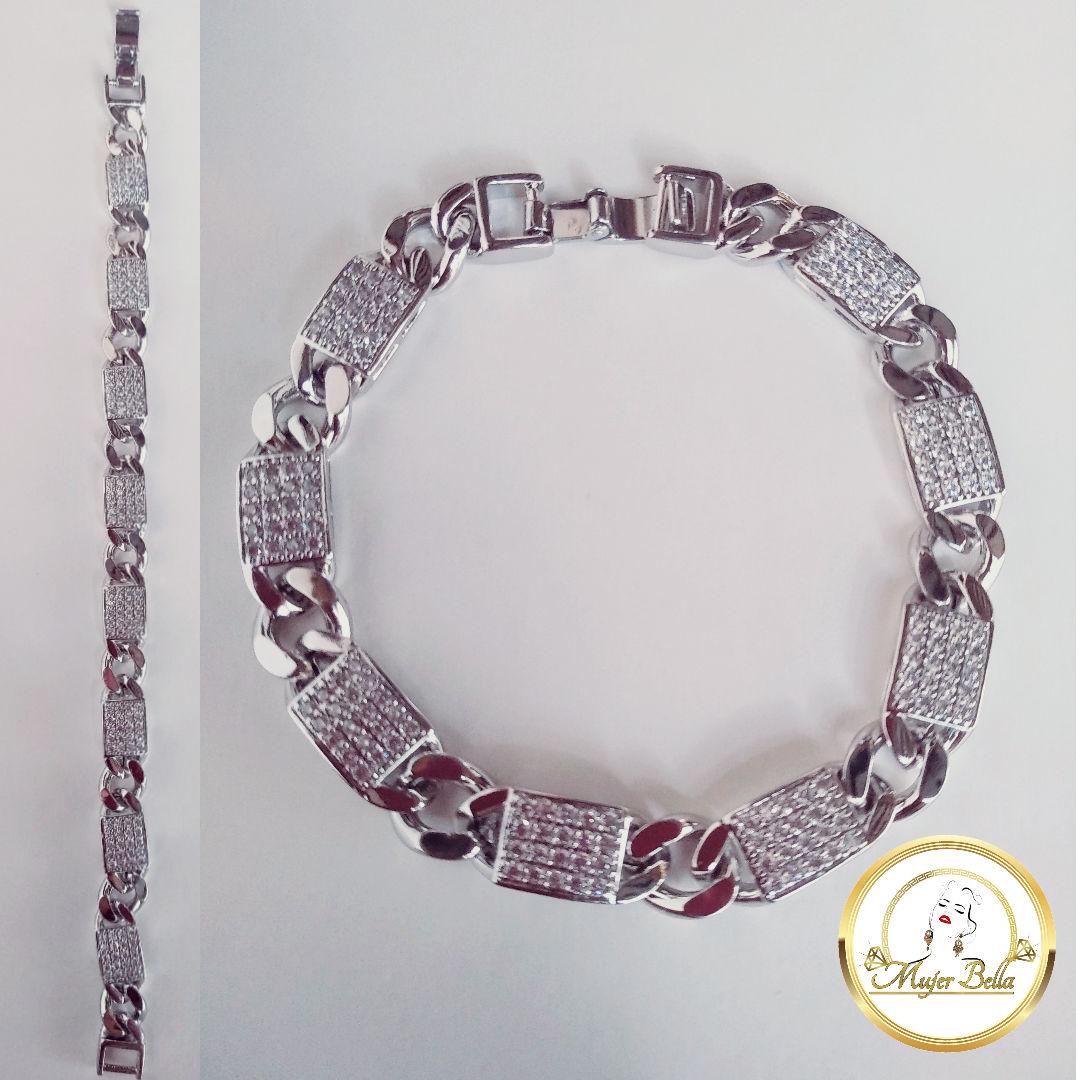 pulsera de cuadros con piedras blancas [+$2.00 ]