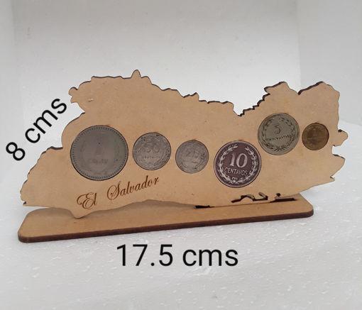 Imagen de Mapa El Salvador con 6 monedas