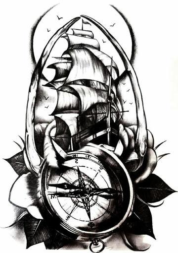 Imagen de Tatuaje temporal decorativo grande - Barco y Brújula