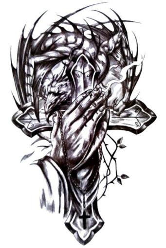 Imagen de Tatuaje temporal decorativo grande - Cruz y dragón