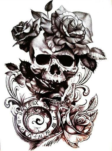 Imagen de Tatuaje temporal decorativo grande - Calavera, Flores y Reloj