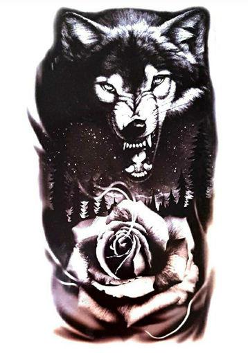 Imagen de Tatuaje temporal decorativo grande - Lobo y Rosa