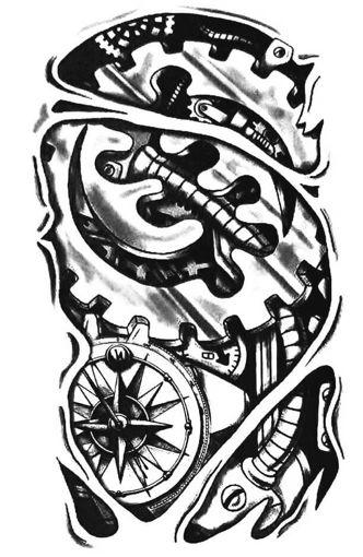 Imagen de Tatuaje temporal decorativo grande - Engranajes y Brújula