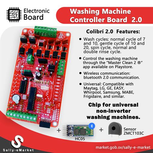 Imagen de Tarjeta Electrónica para lavadoras de ropa NO INVERTER (Colibri 2.0 )