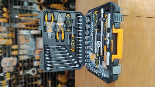 Imagen de Caja de herramienta Set cubo 1/2 plg 1/4 c/llaves +accesorios. 77 Piezas INGCO