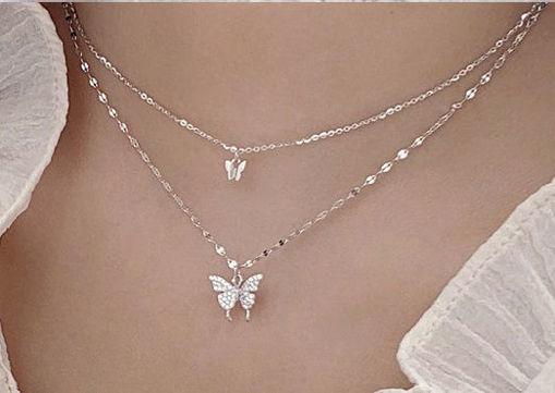 Imagen de Collar doble capa /Mariposas