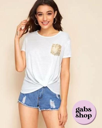 Imagen de Blusa blanca con bolsita de lentejuelas