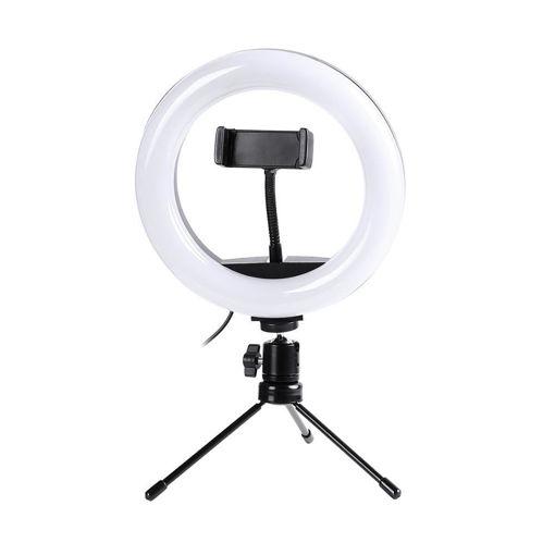 Imagen de Aro de luz LED de escritorio con trípode y base para celular